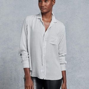 FRANK & EILEEN Black Double Stripe Button Down XS
